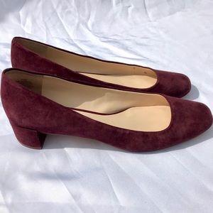 Burgundy Suede Low Heels